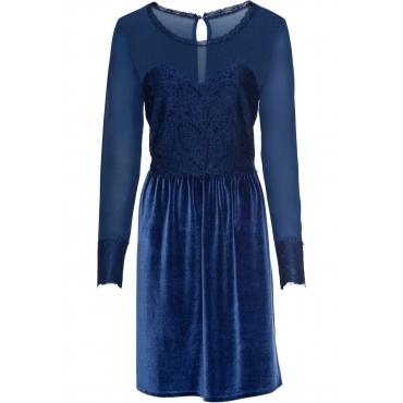 Velvet-Kleid mit Spitze langarm  in blau  von bonprix