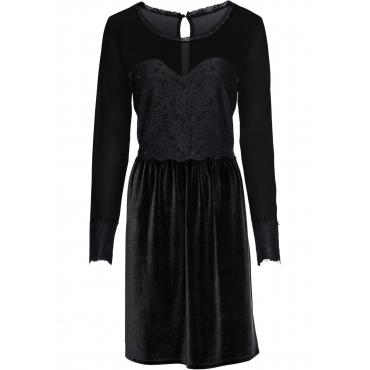 Velvet-Kleid mit Spitze langarm  in schwarz  von bonprix