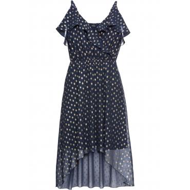 Vokuhila-Kleid mit Metallic-Print ohne Ärmel  in blau für Damen von bonprix