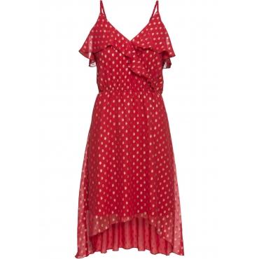 Vokuhila-Kleid mit Metallic-Print ohne Ärmel  in rot für Damen von bonprix