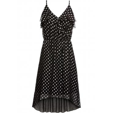Vokuhila-Kleid mit Metallic-Print ohne Ärmel  in schwarz für Damen von bonprix