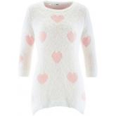 Vokuhila-Long-Pullover mit 3/4-Ärmeln langarm  in weiß für Damen von bonprix