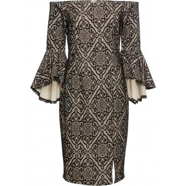 Volant Kleid 3/4 Arm  in beige von bonprix