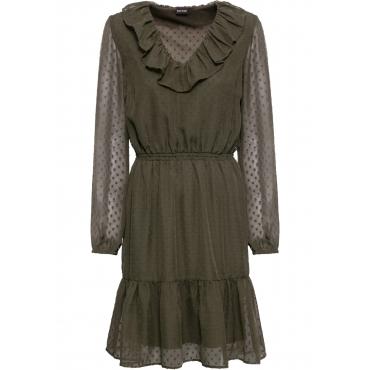 Volant-Kleid langarm  in grün für Damen von bonprix