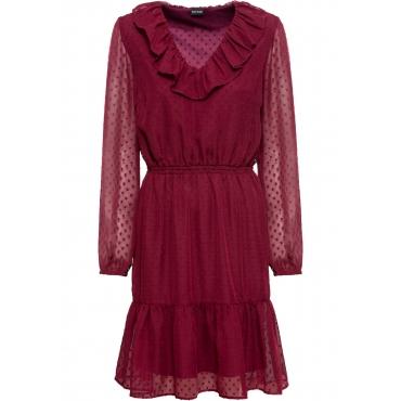 Volant-Kleid langarm  in rot für Damen von bonprix
