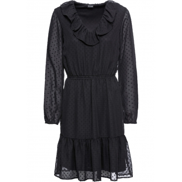 Volant-Kleid langarm  in schwarz für Damen von bonprix
