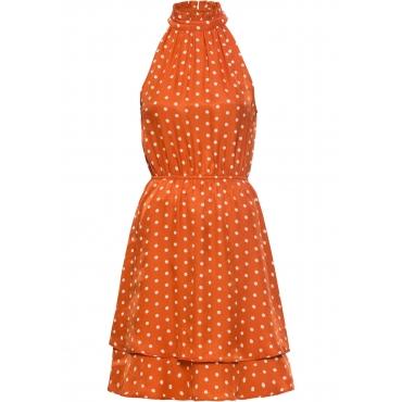 Volant-Neckholder-Kleid ohne Ärmel  in orange für Damen von bonprix
