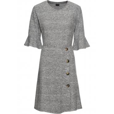 weiches Jerseykleid mit Knöpfen 3/4 Arm  in grau für Damen von bonprix