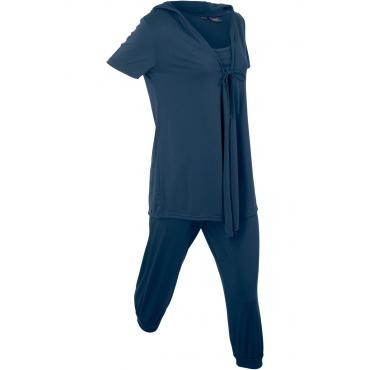 Wellness-Anzug mit Beutel (3-tlg.) halber Arm  in blau für Damen von bonprix