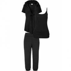 Wellness-Anzug mit Beutel (3-tlg.) halber Arm  in schwarz für Damen von bonprix