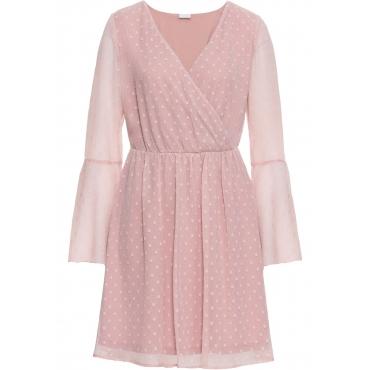 Wickelkleid aus Chiffon langarm  in rosa von bonprix