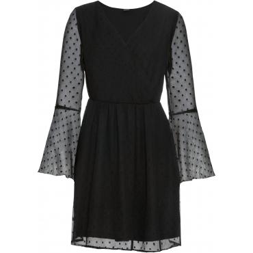 Wickelkleid aus Chiffon langarm  in schwarz für Damen von bonprix
