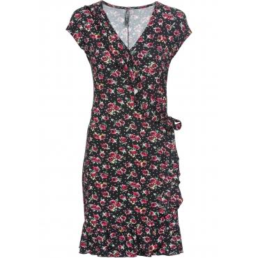 Wickelkleid mit Blumendruck kurzer Arm  in schwarz von bonprix