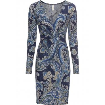 Wickelkleid mit Paisley Muster langarm  in blau von bonprix