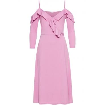 Wickelkleid mit Volants 3/4 Arm  in rosa von bonprix