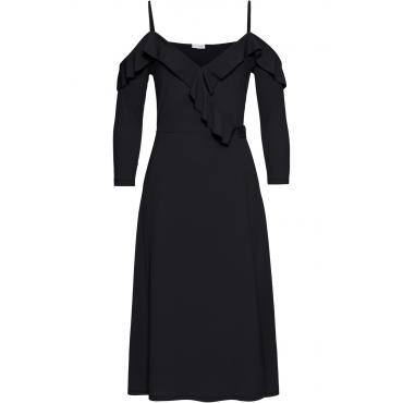 Wickelkleid mit Volants 3/4 Arm  in schwarz von bonprix