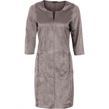 Wildlederimitat-Kleid halber Arm  in grau von bonprix
