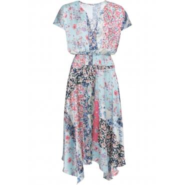 Zipfel-Kleid in Satinoptik kurzer Arm  in blau für Damen von bonprix