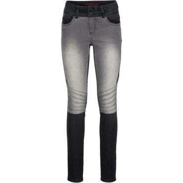 Zweifarbige Skinny Jeans mit Teilungsnähten in schwarz für Damen von bonprix
