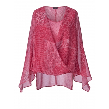2-in-1-Bluse mit Allover-Print Samoon Pink