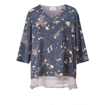 2-in-1-Bluse mit Blumen-Print Zizzi blau bedruckt