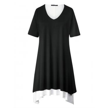 2-in-1-Jersey-Kleid mit Zipfelsaum Sara Lindholm Schwarz