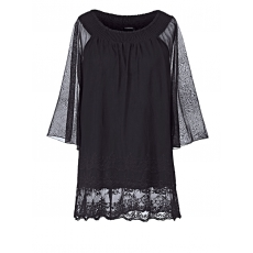 2-in-1-Shirt mit Carmen-Ausschnitt und Spitze Sara Lindholm schwarz