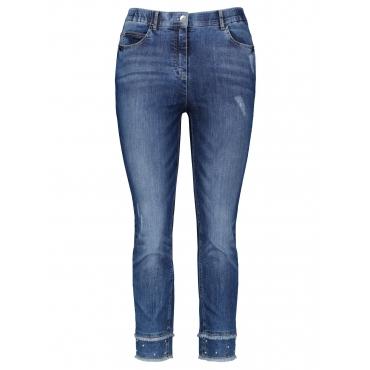 7/8 Jeans mit Perlen Samoon Blue Denim