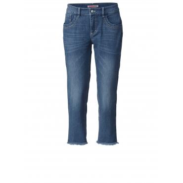 7/8 Slim Fit Jeans mit Fransensaum Ascari Blau