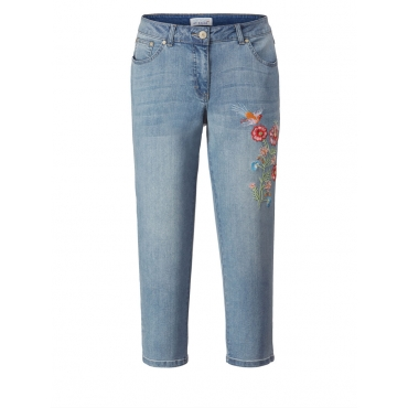 7/8 Slim Fit Jeans mit Stickerei Angel of Style blue bleached