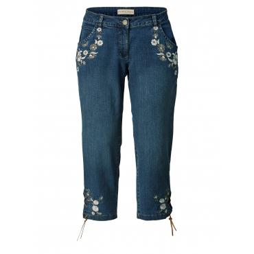 7/8 Slim Fit Jeans mit Stickerei Janet & Joyce Black::Denim