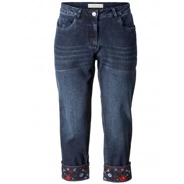 7/8 Slim Fit Jeans mit Stickerei Janet & Joyce Dunkelblau