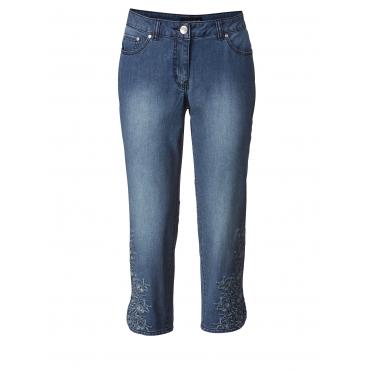 7/8 Slim Fit Jeans mit Stickerei Sara Lindholm Blau