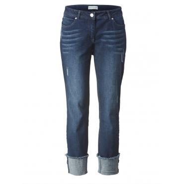 7/8 Slim Fit Jeans mit Umschlag und Fransen Janet & Joyce blue denim