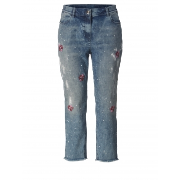 7/8 Straight Cut Jeans mit Stickerei und Fransensaum Samoon Blau