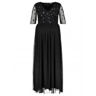 Abendkleid mit Pailletten Samoon Black Applikation