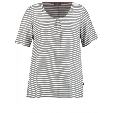 Ausgestelltes Blusenshirt Samoon Steel Grey gemustert