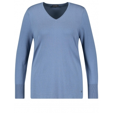 Basic-Pullover mit V-Ausschnitt Samoon Petal Pink