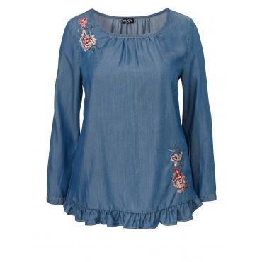 Bestickte Bluse mit Rüschenbordüre Via Appia Due jeans mittelblau