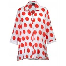 Bluse gepunktet cpm DUE weiß/rot