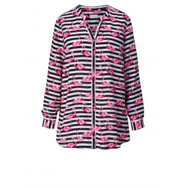 Bluse gestreift mit Flamingo-Print Milano Italy Marineblau