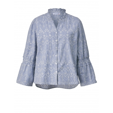 Bluse gestreift mit Stickerei Angel of Style Hellblau