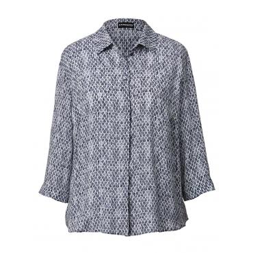 Bluse mit Allover-Print Samoon blau bedruckt