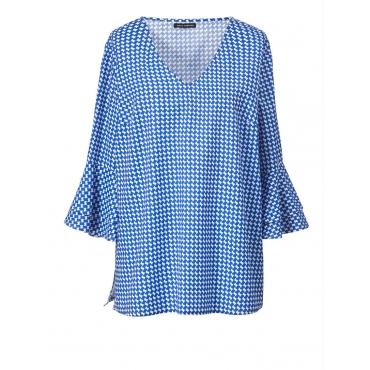 Bluse mit Allover-Print & Volants Sara Lindholm blau/weiss