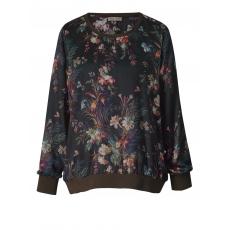 Bluse mit Blumen-Print OpenEnd schwarz bedruckt