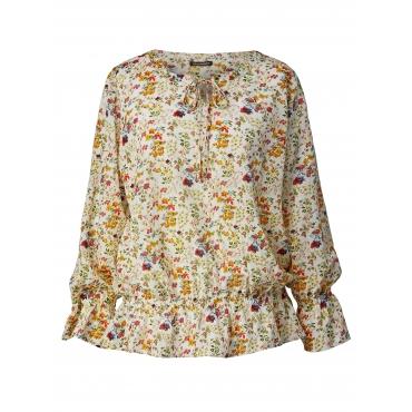 Bluse mit Blumen-Print und Volant-Ärmeln Sara Lindholm Multicolor