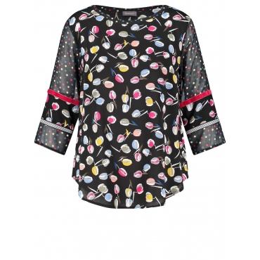 Bluse mit Blumen-Tupfen-Print Samoon Black Druck