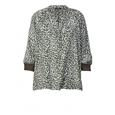 Bluse mit Leo-Print Frapp Off-white::Khaki