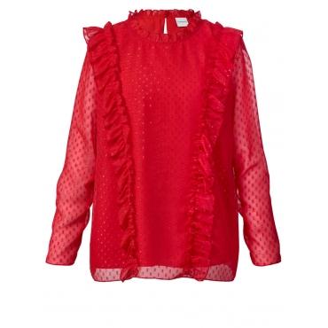 Bluse mit Rüschen Junarose rot