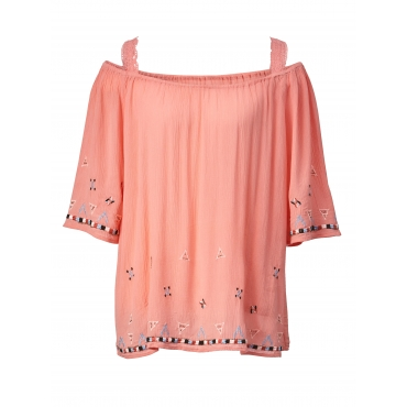 Bluse mit Stickerei Angel of Style Rosé